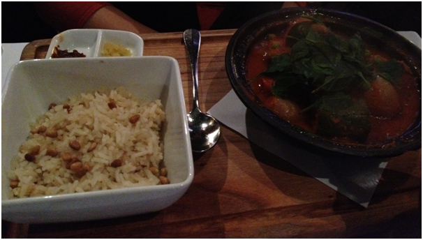 Seven Vegetable Casablanca Tagine Served with a choice of Carrot Steamed Couscous or Rice Pilaf ($31)