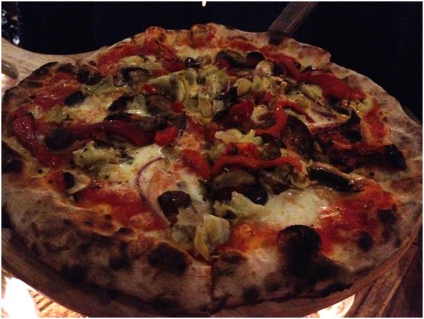 Pizza Al Forno Legna (Woodfire): Ferrara ($29.50) - eggplant, mushrooms, wood fire roaasted capsicum, semi sundried tomatoes, red onion, D.O.P fior de latte mozzarella, artichokes w/ ligurian olives