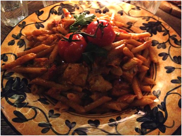 Pasta Asciutta (Dry Pasta): Pennette Romana ($29.50) - chicken, mushroom, avocado, cherry tomatoes & cream w/ D.O.P parmesan