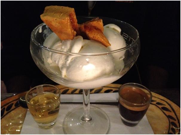 Dolci: Affogato ($14) - vanilla gelato w/ a shot of espresso, frangelico & honeycomb