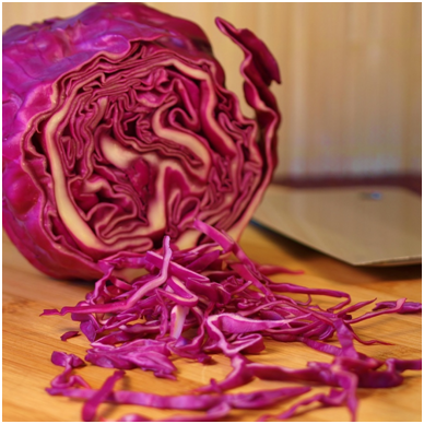 Local organic red cabbage for the Thai Tofu Tacos.  Be sure to slice the cabbage thin for your tacos.  Use a sharp knife or a mandolin to achieve this effect