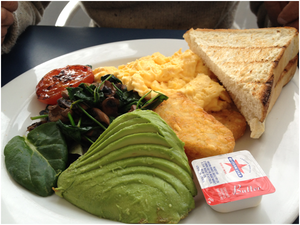Vegetarian Big Breakfast - Eggs (both chose scrambled), mushrooms, hashbrowns, grilled tomato, avocado, baby english spinach with toast ($15.90)
