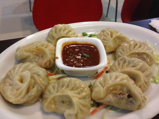 Momos - yes these are called 'Momos' - Basically Indian style Chinese dumplings which have been steamed and served with what may as well be, raw chilli - one of the ultimate new Indian delights :)