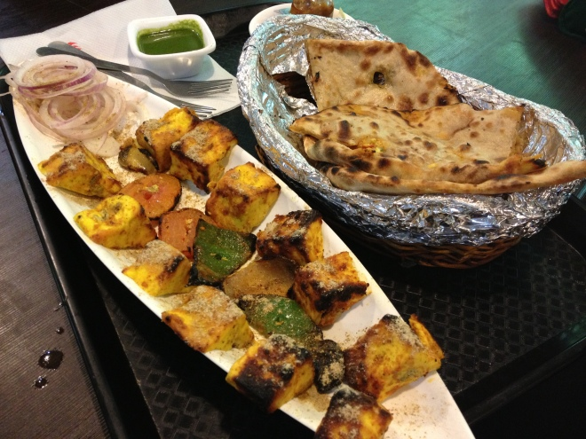 Sizzling Paneer Tikka - just like chicken but so muh better and stuffed paratha - basically Indian Chapati bread filled with onion, spices and deliciousness all around - yes this was another source of my mother's overeating, god bless her :D