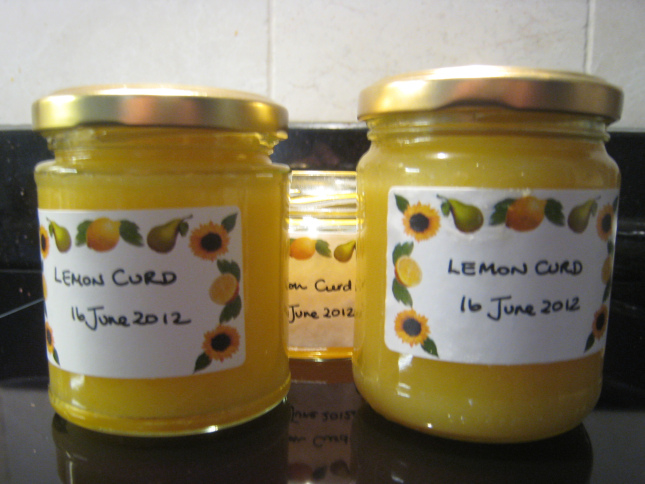 Three little jars of beautiful lemon curd