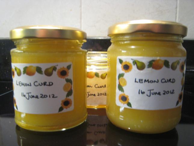 Three little jars of beautiful lemon curd