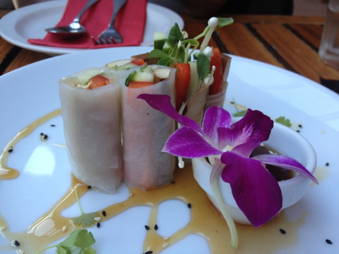 Fresh Spring Roll - House made fresh spring roll of marinated tofu, enoki mushroom, capsicum, snow peas sprouts and cucumber with house sesame and tamarind sauce - $7.90