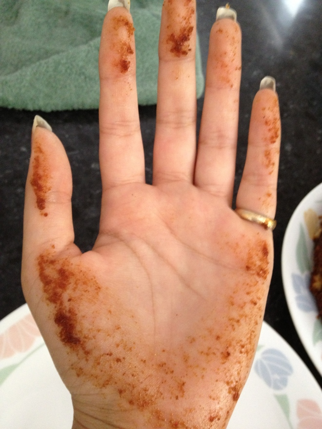Post cutting hand... full of carrot cake moistness